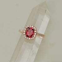 Raspberry Red Spinel Ruby Alternative 14k Rose Gold Diamond Halo Gemstone Engagement Ring Weddings Anniversary