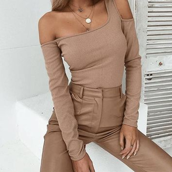 Ribbed One-Shouldered Cut-Out Blouse