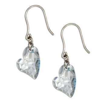 Sterling Silver Swarovski Crystal Lopsided Heart Earrings