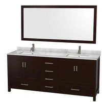 Wyndham Collection Sheffield 80 in. Double Vanity in Espresso with Marble Vanity Top in Carrara White and 70 in. Mirror WCS141480DESCMUNSM70 at The Home Depot - Mobile