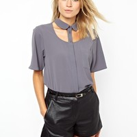 ASOS | ASOS Blouse with Peter Pan Collar and Cut Out Yoke at ASOS