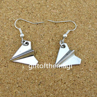 silver Paper airplane earrings,charming earrings,cute earrings .EH-004