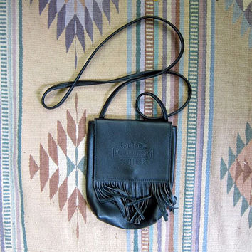 Vintage Harley Davidson purse. black leather cross body purse. fringed purse.