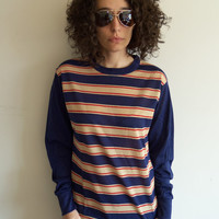 Vintage 70s Navy and Tan Striped Shirt