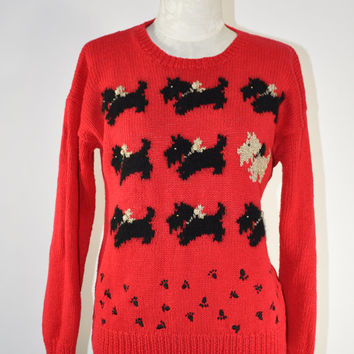80s red scottish terrier sweater / vintage 1980s festive cotton sweater / Fancy Terrier jumper