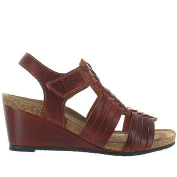 Taos Tradition   Brown Leather Huarache Style Wedge Sandal