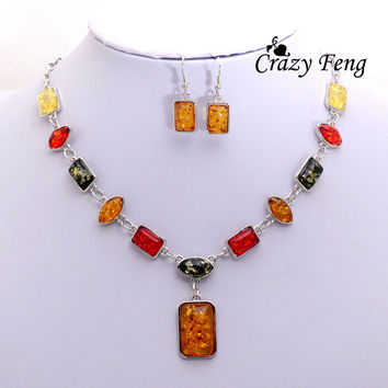 Free shipping Newest Women's Vintage Retro 18k Silver Plated Amber African Wedding Jewelry Sets Chain Necklace Earrings sets