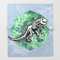 T. Rex Fossil Throw Blanket by Chobopop