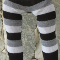 "Black, white & gray striped leggings for an 18"" doll."