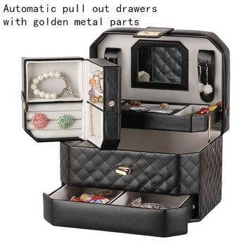 ROWLING Portable Jewelry Box Pink Golden Black Jewellery Case Mirror Trinket Holder Leather Bracelet Organizer with Travel Case