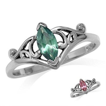 Marquise Shape Simulated Color Change Alexandrite 925 Sterling Silver Filigree Ring