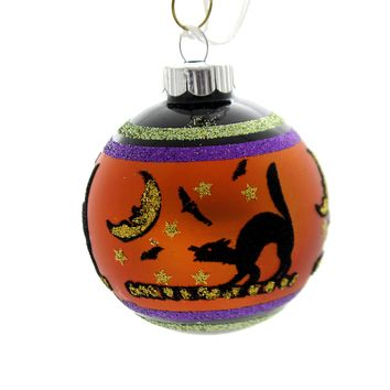 Shiny Brite HALLOWEEN SIGNATURE FLOCKED. Glass Ball Ornament 4026973S G