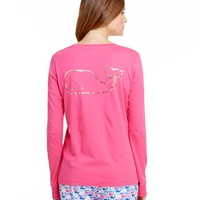 Long-Sleeve Vintage Foil Whale Pocket Tee