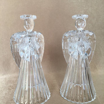 Crystal Angel candle holders, Lead crystal angels, Glass Angel candle holders, Crystal American Angels
