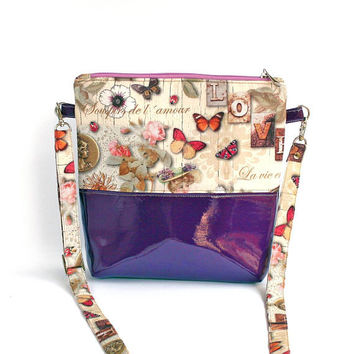 Bag glitter vinyl fabric butterfly rose bird bicolour romantic modern youth style bag everyday purple handbag cotton flower shoulder