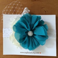 Baby Headband, Teal, Teal Headband, Photo Prop, Photography Prop, Baby, Girl, Headband, Hair Accessory, Headband, Flower, Flower Headband