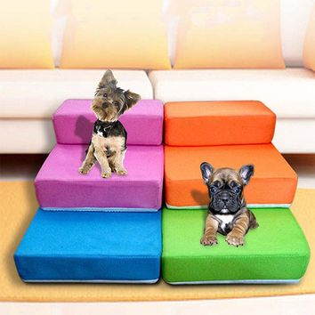 Breathable Mesh Foldable Pet Stairs Detachable Pet Bed Stairs Dog Ramp 2 Steps Ladder for Small Dogs Puppy Cat Bed Cushion Mat