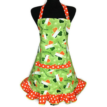 Irish Flag Shamrock Apron for women , Green with Orange and white polka dot  ruffle , St Patricks Day Kitchen Decor