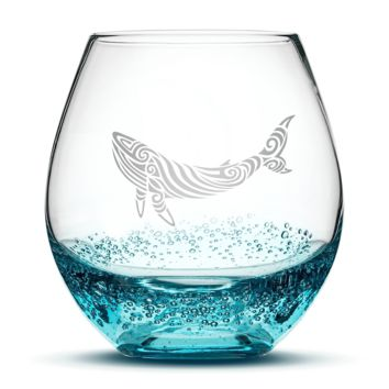 Bubble Wine Glass with Tribal Whale Design, Hand Etched