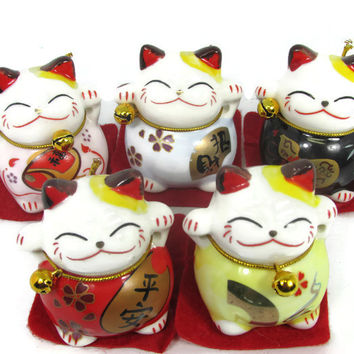 5 Ceramic Maneki Neko japanese Lucky Cats Bring Fortune and Prosperity 2''