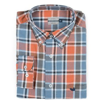 Ocoee Washed Plaid Dress Shirt in Slate and Bisque by Southern Marsh - FINAL SALE