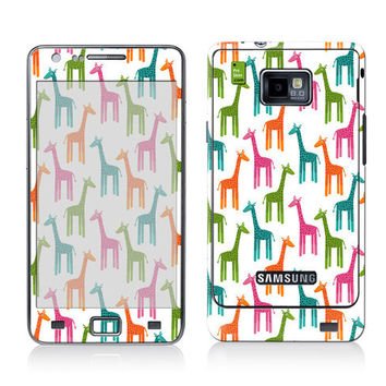 Galaxy Decal, Samsung Cover, Galaxy S2 i9100 Case Skin, PLUS Matching Wallpaper - Giraffes - Giraffe Multi Color Cute Women Men Teen