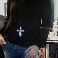 celebrity Necklace - Large Cross on Leather cord - Long Silver Cross Necklace