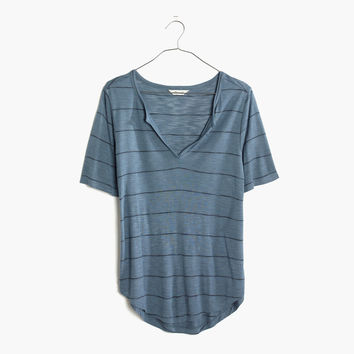 Anthem Split-Neck Tee in Kimball Stripe : | Madewell