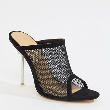 Public Desire Goalz black mesh clear heeled mules at asos.com