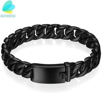 Boniskiss Big Men Bracelet Black/Gold Color Thick Stainless Steel Bracelet Link Chain Boys Fashion Jewelry