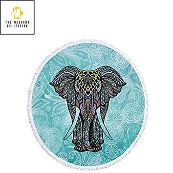 Round Beach Towel Blanket Elephant Throw Mandala Bohemian Style Yoga Mat Tapestry Tassel | Thick Microfiber | Extra Large Size 60 inch | Perfect for all ages By The Weekend Collection … (Elephant)
