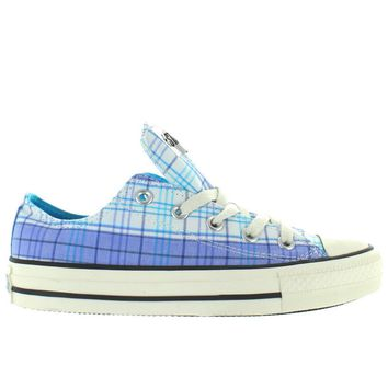 converse all star chuck taylor spectator ox blue white allure plaid low top sneaker