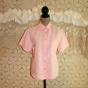 Vintage Pink Gingham Shirt Cotton Blouse Linen Top Button Up Short Sleeve Pink & White Check Women Shirts 80s 1980s XL Large Womens Clothing
