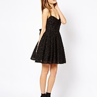 French Connection Glitter Whisper Dress with Bow Back