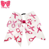 5pcs/lot  High Quality Girls Handmade Glitter Ribbon Bow Baby Boutique Large Glitter Cheer Bow Kids Breast Cancer Hair Bow