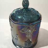 Blue Carnival Glass Canister with Lid, Vintage Glass Cookie Jar Harvest Grape