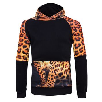 The North Of Bodybuilding Printed Black Pullover Men leopard Long Sleeve 3D Hoodies Sweatshirts Crewneck Tops Clothing Face
