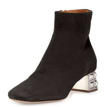 Miu Miu Suede Jewel-Heel Ankle Boot