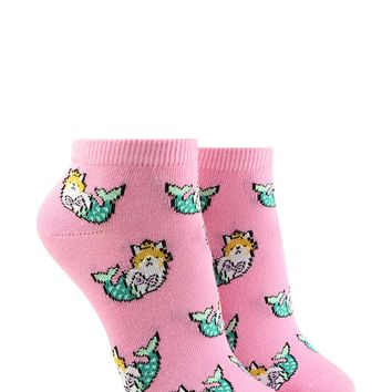 Mermaid Cat Print Ankle Socks