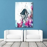 canik211 Canvas Print Artwork Stretched Gallery Wrapped Wall Art Painting ocean jellyfish Size 26x38""