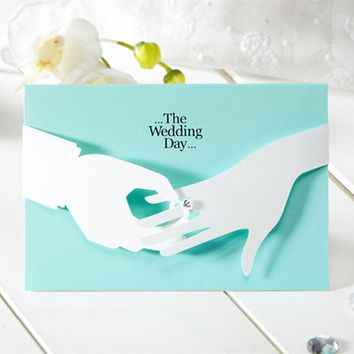 12pcs/lot Tiffany Blue Wedding Invitations Elegant Laser Cut Paperboard Lover Party Romantic Inviting Cards Printable 2016 JJ633