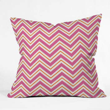 Caroline Okun Berry Pop Chevron Outdoor Throw Pillow