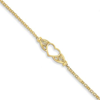 14kt Yellow Gold Elegant Scroll Hollow Heart Charm Ankle Bracelet