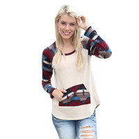 Geometric Print Pocket Patchwork Sweater
