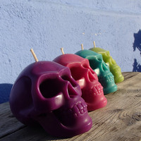 4 Skull candles - pink green purple turquoise - halloween decoration