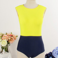 Color Block High Neck Swimsuit - Yellow