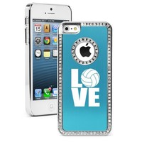 Apple iPhone 5c Light Blue CS1608 Rhinestone Crystal Bling Aluminum Plated Hard Case Cover Love Volleyball