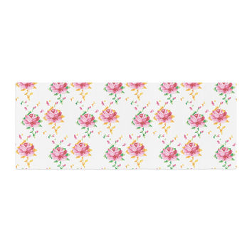 "Laura Escalante ""Cross Stitch Flowers"" White Pink Bed Runner"