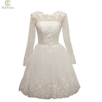 SSYFashion 2017 White Lace Cocktail Dress Banquet Elegant Transparent Long Sleeve Embroidery A-line Knee-length Short Party Gown