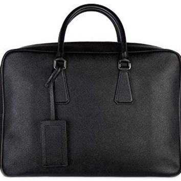 Prada briefcase attaché case laptop pc bag leather saffiano travel black